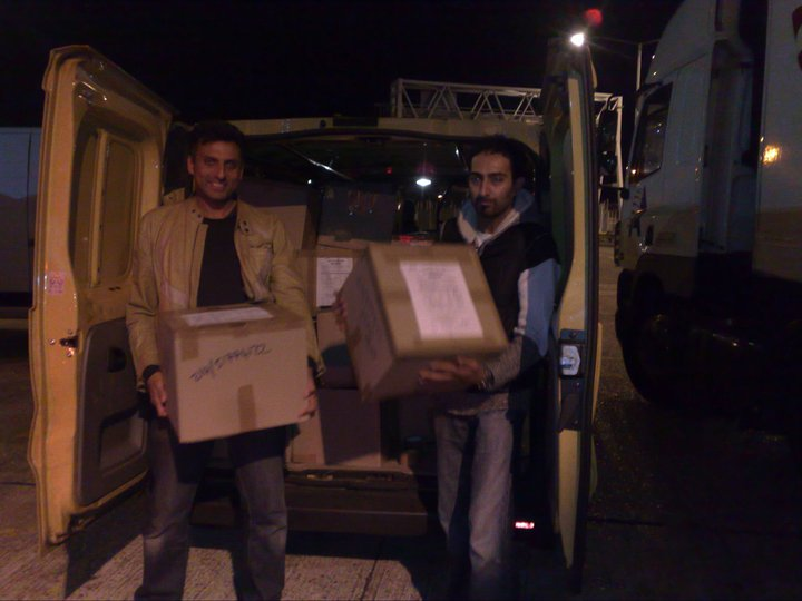 MCC trustees and volunteers loading MCC life boxes for air cargo to areas devastated by floods in Pakistan.