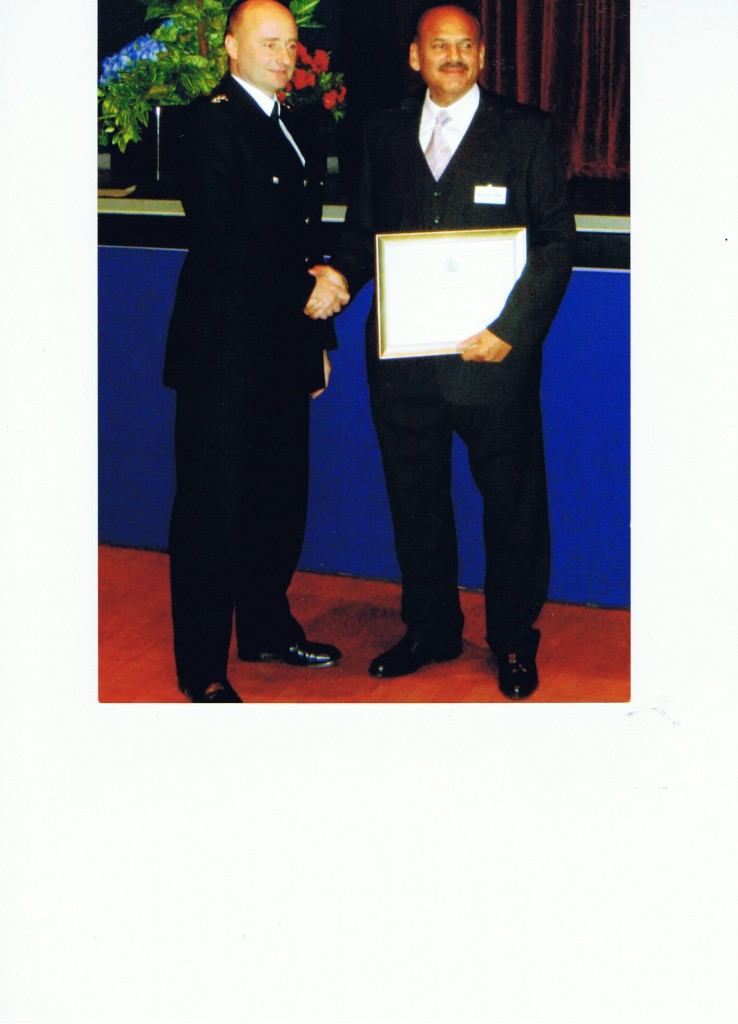 Commendation awarded to Mr Afzal Khan at an awards ceremony for tenacity and commitment in helping the Metropolitan police find a missing child.